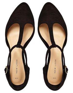 New Look | New Look Jupiter Black T Bar Flat Shoes at ASOS