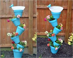 This DIY birdbath is both a planter and a bath for cute birdies. To make this birdbath, you will need terracotta pots in various sizes, a rebar, adhesive, and a bowl or plate of some type for the bath section.