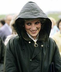 Diana in her Barbour raincoat