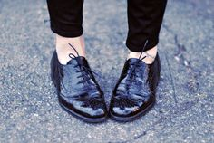 black patent lace up oxfords