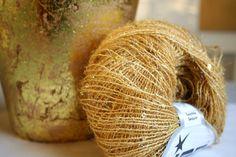 Sparkle sequin yarn gold metallic knit yarn set of by woolpleasure, $10.00