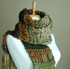 The scarf is knit using two strands of the most incredibly soft bulky yarn knit together along the entire length! Measures approx. 84x6, long enough to wrap around for extra warmth or let dangle down for extra drama! Made of a soft, warm, vegan easy care acrylic. The colors are perfect for fall fashion in shades or brown and green. This is a must have fall/winter accessory!  Hand wash, roll out excess water in a towel, air dry.  Available in more colors! http://www.etsy.com&#x2...
