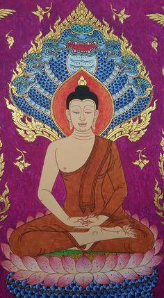 Buddha Painting, Buddha Art, Buddha Symbols, Thai Pattern, Amazing Life Hacks, Thai Art, Hindu Art, Buddhism, Graphic Art
