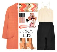 """My coral Lips"" by topmoss ❤ liked on Polyvore featuring beauty, MANGO, Tanya Taylor, 10 Crosby Derek Lam, Forte Forte, Rafe, Bobbi Brown Cosmetics, NARS Cosmetics, coral and contestentry"