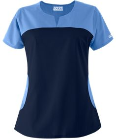 Butter-Soft Scrubs by UA™ Rounded Notch Neck Top Relaxed styling and feminine details come together in this notch neck scrub top! Salon Uniform, Spa Uniform, Scrubs Uniform, Scrub Suit Design, Medical Scrubs, Nurse Scrubs, Uniform Advantage, Medical Uniforms, Uniform Design