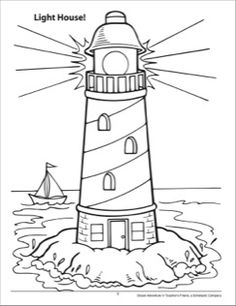 Ocean Adventure Coloring Page House Colouring Pages, Coloring Book Pages, Printable Coloring Pages, Lighthouse Drawing, Lighthouse Art, Quilled Creations, Drawing Templates, Rock Painting Ideas Easy, Doodle Coloring