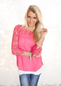 Graced with Lace Top Color Fuschia