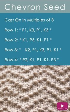 Newest Pic knitting stitches easy Popular How to Knit the Chevron Seed Stitch Easy Free Knitting Pattern with Studio Knit Knitting Stiches, Easy Knitting, Knitting Needles, Knitting Patterns Free, Knit Stitches, Knitting Ideas, Knitting Tutorials, Cowl Patterns, Sewing Stitches
