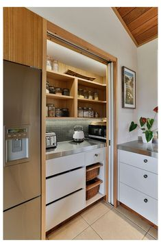 Kitchen Pantry Cupboard, Small Kitchen Pantry, Free Standing Kitchen Pantry, Kitchen Pantry Design, Hidden Kitchen, Kitchen Interior, Corner Kitchen Layout, Corner Pantry, Kitchen Cupboards