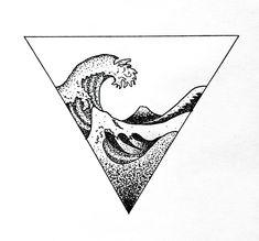 Wave Hokusai geometric tattoo dotwork art design