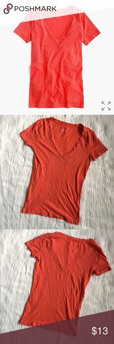 """J. Crew Vintage Cotton V-Neck in Vivid Flame j. crew vintage cotton v-neck in the hue """"vivid flame"""". very lightweight, perfect for warmer weather! material has a heathered look to it. looser fit, very comfortable and can be paired with anything! last picture shows it on a model but in a different color. no flaws. size xxs- can fit an xs also. 10% off bundles of 2 items and 15% off bundles of 3+ items. inventory box i. J. Crew Tops Tees - Short Sleeve"""