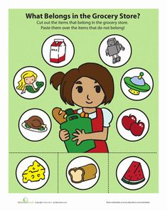 Preschool Sorting & Categorizing Worksheets: Grocery Store Game