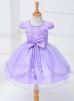 Ball Gown Scoop Neck Above Knee Bow(s) Polyester Short Sleeves Flower Girl Dress Flower Girl Dress