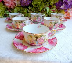 6 Stunning Vintage Porcelain Cups & Saucers ~ Roses ~ Pink ~ Gold Gild #Unknown