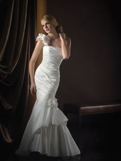 Taffeta Mermaid One-Shoulder Sleeveless Wedding Dress