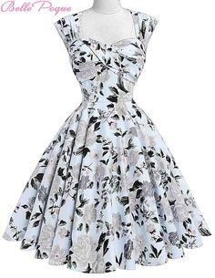 Audrey Hepburn Vestidos Cotton Floral Print Vintage 50s Dresses Women Robe  Rockabilly Pin Up Dress BP000024 Alternative Measures - Brides    Bridesmaids ... 9d41b082e75e