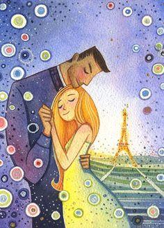 Paris Romance Watercolor Illustration