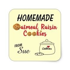 Homemade Oatmeal Raisin Cookie Label Stickers - craft supplies diy custom design supply special