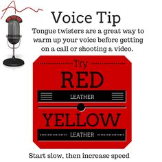  Warm up your voice before any performance -- video, podcasts, Teleseminars, webinars, and stage! Would also work great for any time you have to deliver your elevator pitch. Vocal Exercises, Tongue Twisters, Acting Tips, The Marketing, Your Voice, Online Jobs, Business Tips, Stage, Warm