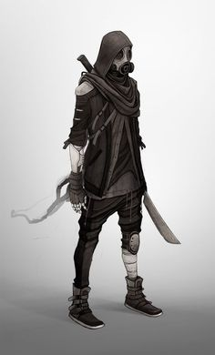 Another apocalypse thing by Naimane postapocalypse fighter samurai gas mask armor clothes clothing fashion player character npc | Create your own roleplaying game material w/ RPG Bard: www.rpgbard.com | Writing inspiration for Dungeons and Dragons DND D&D Pathfinder PFRPG Warhammer 40k Star Wars Shadowrun Call of Cthulhu Lord of the Rings LoTR + d20 fantasy science fiction scifi horror design | Not Trusty Sword art: click artwork for source: