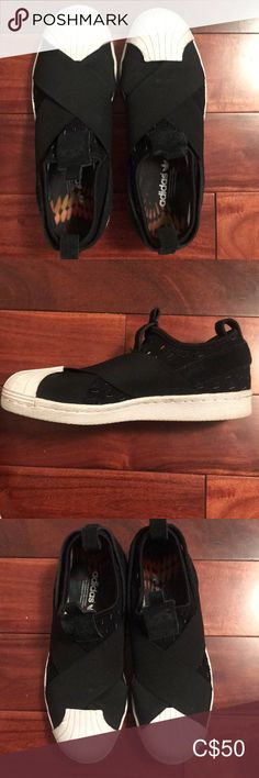 Adidas Flat Shoes Extremely comfortable and is barely worn (in brand new condition)! Adidas Shoes, Shoes Sneakers, Flat Shoes, Black Adidas, Adidas Women, Balenciaga, Brand New, Flats, Black And White