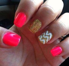 Hot pink. Chevron gold glitter nails