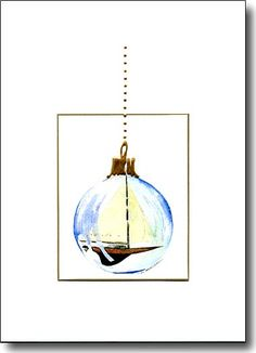 Handmade Holiday card, Sailboat ornament, watercolor by Kim Attwooll