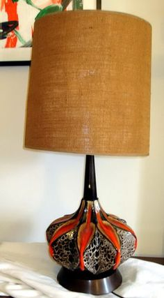 Really unusual and spectacular lamp base with red and fat lava glazes | eBay