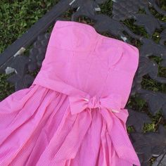Gilly Hicks Pink And White Strapless Sundress