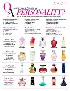 Take this quiz to find your perfect Avon perfume, then visit www.youravon.com/tanyahoward today!
