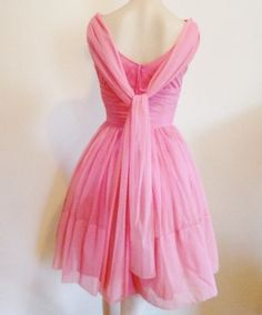 Pretty In Pink Vintage 1950's Chiffon Party Prom Swing Dress XS S