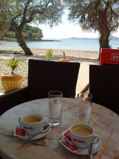 Coffee at the  beach Goodmorning beautiful! :* ♥ you so much :D have a great day :) didnt write but got you something :D