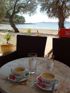 Coffee at the Blue beach - Vodice, Croatia
