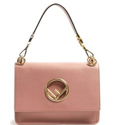 Kan I Logo leather shoulder bag by Fendi. Fendi's pastel-pink leather Kan I Logo bag is the definition of contemporary chic. The elegant shape is punctuated wi...
