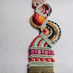 Micro macrame bracelet Green Orange Red Black by MartaJewelry