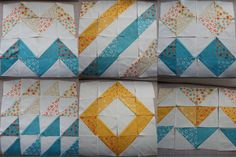 Half square triangle quilt block layouts