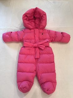 757945fe5 New Falls Creek Baby Infant Girls Pink Bunting Snowsuit 0-3 Months Bear Pram