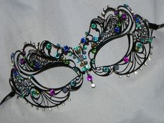 New to TheCraftyChemist07 on Etsy: Masquerade Mask - Metal Mask in Turquoise Blue and Purple - Peacock Colors (33.95 USD)