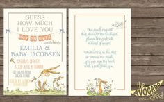 Guess How Much I Love you Baby Shower Invitation and Bring a Book Instead of a Card Backside