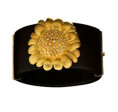 #huffyjewels #cuff #ebony #wood #bracelet with 18k #gold #daisy #margarita and #diamonds #sprezzatura #collection  www.huffyjewels.com