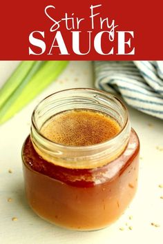 This easy Stir Fry Sauce is made from scratch, with just five ingredients. It's perfect with any meat and vegetables you choose for your stir fry! Vegetarian Stir Fry Noodles, Chinese Stir Fry Sauce, Homemade Stir Fry Sauce, Garlic Chicken Stir Fry, Chow Mein, Sauce Recipes, Easy Recipes, Cooking Recipes, How To Cook Chicken