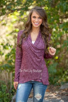 The Pink Lily Boutique - Mosey Over Here Burgundy Zip Sweater , $42.00 (http://thepinklilyboutique.com/mosey-over-here-burgundy-zip-sweater/)