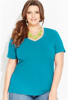 Crossover V-Neck Tee | Plus Size Knit Tops & Tees | Avenue