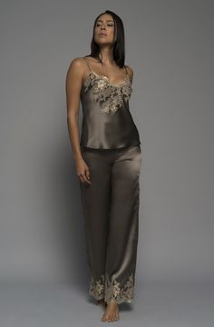 Gilded Rose Cami in Mocha French Lace and Silk Satin Luxury Sleepwear, Loungewear and Lingerie Honeymoon Attire, Sleepwear & Loungewear, Silk Slip, Luxury Lingerie, French Lace, Looking Stunning, Lounge Wear, Couture, Mocha