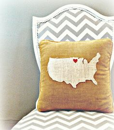 The White House Girls: State Pillow {DIY} NO SEW!