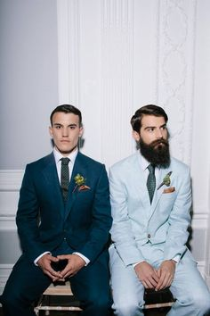 Jess and Pats wedding: suits I'd rock with a plus one. Shoot, I'd pay for a custom suit! Made to order wedding bands from Doyle & Doyle would pair nicely with pastel suits and beards! Only 4 weeks to make! Lgbt Wedding, Wedding Show, Wedding Men, Wedding Suits, Wedding Attire, Wedding Styles, Wedding Photos, Dream Wedding, Wedding Bands