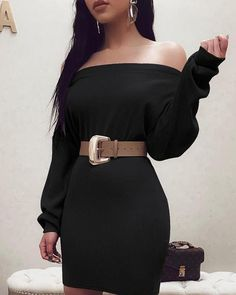 Solid Off Shoulder Long Sleeve OL Dress Women's Online Shopping Offering Huge Discounts on Dresses, Lingerie , Jumpsuits , Swimwear, Tops and More. Black Bodycon Dress, Belted Dress, Slit Dress, Dresses For Work, Dresses With Sleeves, Dress Work, Casual Work Wear, Buy Dress, Pattern Fashion
