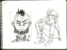 from Gorillaz on the right Jamie Hewlett Art, Monster Museum, Character Art, Character Design, Comic Style Art, Gorillaz Art, Sketch Painting, Ship Art, Cartoon Styles
