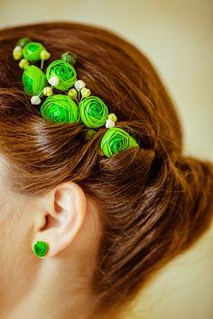 Floral Hair Wreath green Rose make to oder by eteniren on Etsy, $45.60