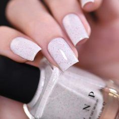 Christmas Cookie - Creamy White Speckled Nail Polish by ILNP #AcrylicNailsStiletto